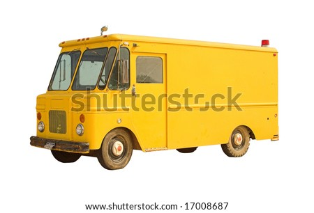 Vintage delivery van isolated on white - blank and ready for branding - stock photo