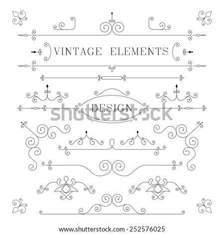 Vintage Design, Borders, Retro Elements, Frame, illustration - stock photo