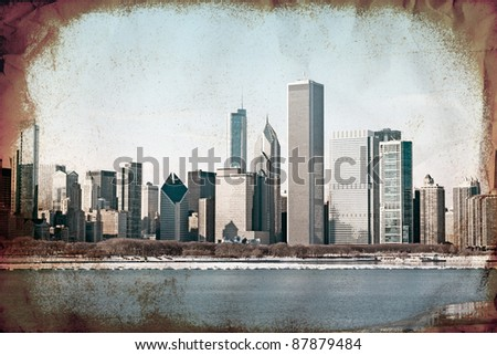 Vintage Design - Chicago Old Photography - stock photo