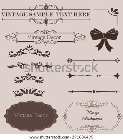 Vintage design elements  set. Lots of useful elements to embellish your layout - stock photo
