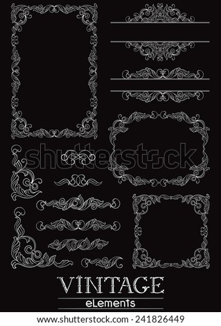 Vintage  design elements. Set of Victorian  Calligraphic  frames, Element and corner details on black background at retro style. - stock photo