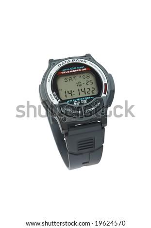 Vintage digital wristwatch with databank - stock photo