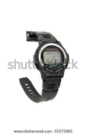 Vintage digital wristwatch with databank - stock photo