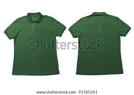 Vintage Dimmed Green color Polo Shirt with white background Men Front and back Polo Shirt - stock photo