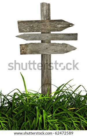 Vintage directional road sign isolated on a white background