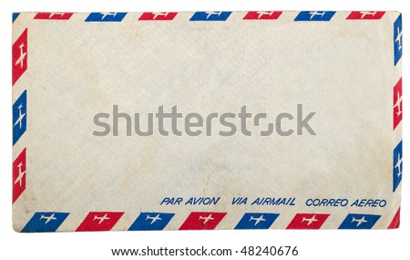 Vintage dirty airmail envelope on white background - stock photo