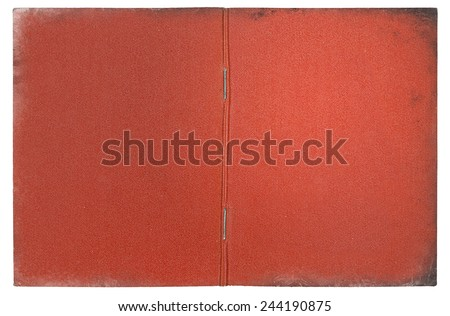 vintage dirty red document open cover background - stock photo