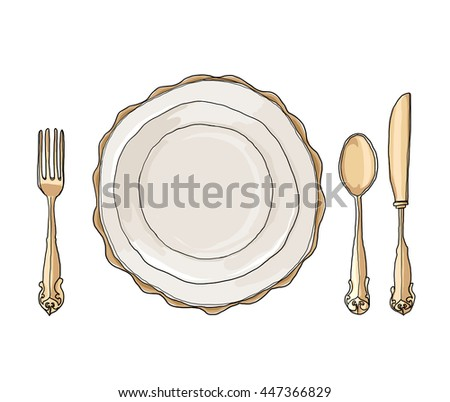 vintage dish plate fork and spoon hand drawn art cute illustration - stock photo
