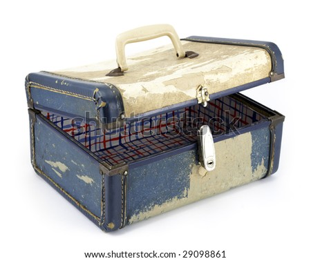 Vintage, distressed train case on white background - stock photo