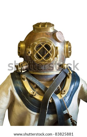 Vintage diver in helmet and suit, isolated - stock photo