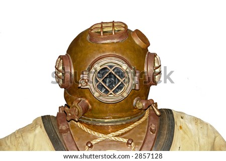 Vintage diver over white - stock photo