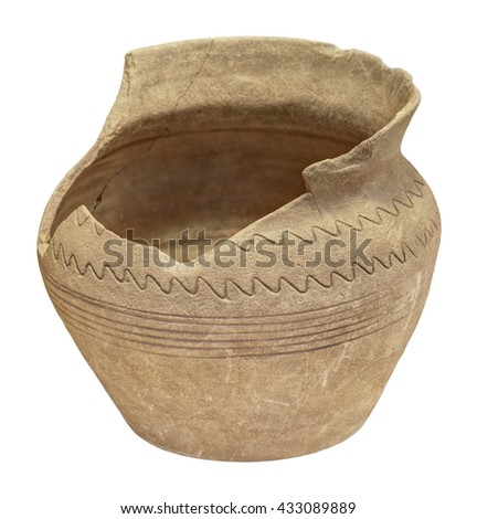 Vintage divided clay pot, isolated on white background - stock photo