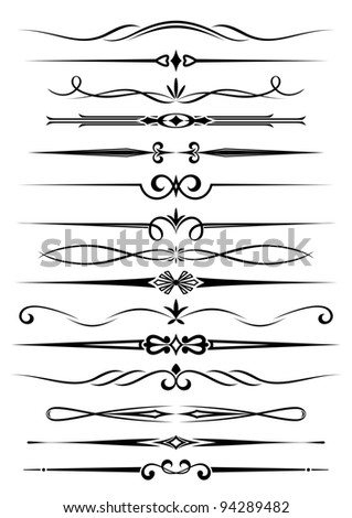 Vintage dividers and borders set for ornate and decoration. Vector version also available in gallery - stock photo