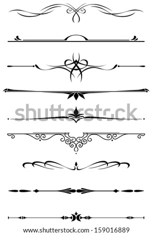 Vintage dividers and borders set in medieval style for embellish and ornate. Vector version also available in gallery - stock photo