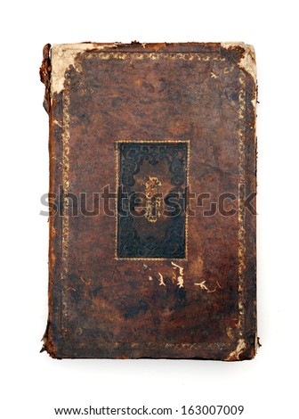 Vintage dog-eared book isolated at white - stock photo
