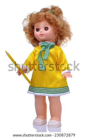 Vintage doll in yellow dress with pencil isolated on white - stock photo