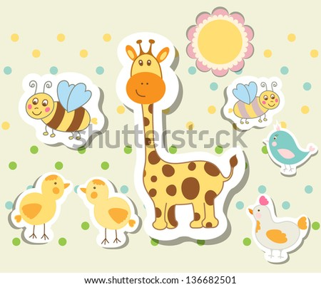 Vintage doodle baby toys for greeting card raster version - stock photo