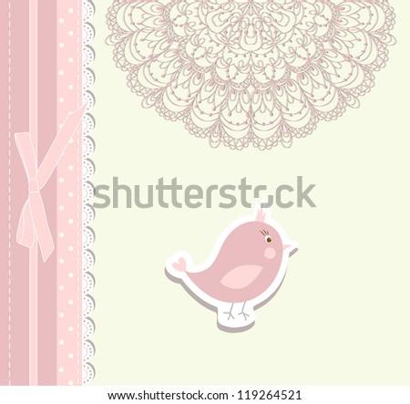 Vintage doodle bird for frame raster - stock photo