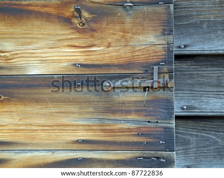 Vintage door and latch - stock photo
