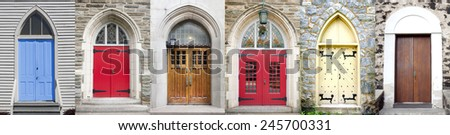 Vintage Door Collage - stock photo