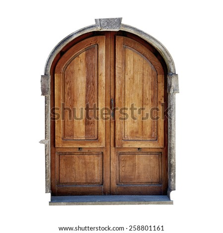 vintage door of small village isolated on white background. - stock photo
