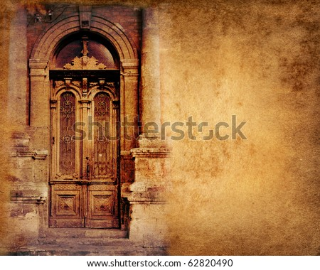 Vintage door on paper background - stock photo