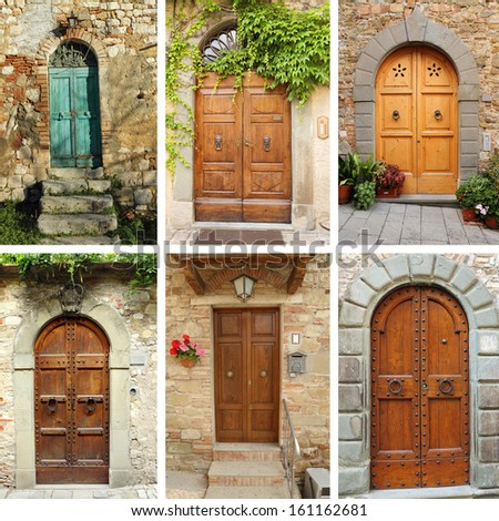 vintage door wallpaper, Tuscany, Italy - stock photo