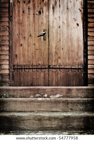 vintage door with artistic shadows added - stock photo
