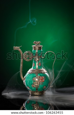 vintage dragon teapot with smoke