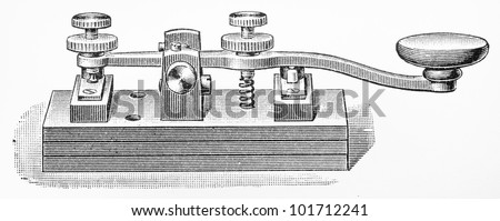 Vintage drawing of a 1867 Morse code key pad - Picture from Meyers Lexikon book (written in German language) published in 1908 Leipzig - Germany. - stock photo