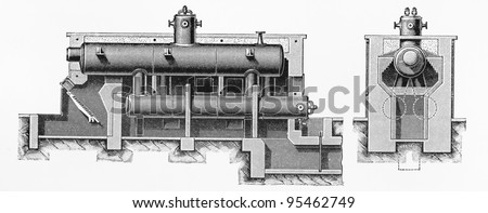 Vintage drawing of a simple cylindrical boiler machine from the end of 19th century -  Picture from Meyers Lexicon books collection (written in German language ) published in 1906 , Germany.