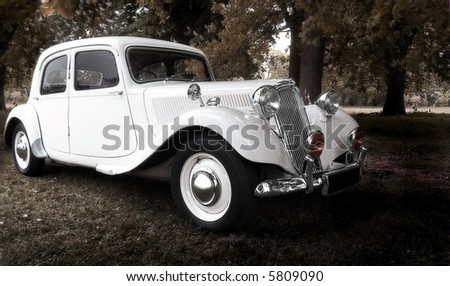 vintage dream wedding car (selective soft focus) - stock photo