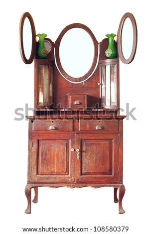 Vintage dresser isolated on white background - stock photo