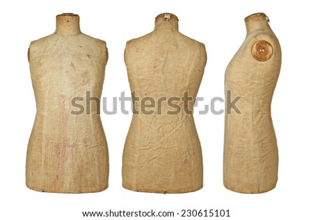 Vintage dressmaking Mannequin for Sewing and Design,three different view - stock photo