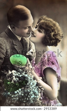 Vintage Easter lovers - stock photo
