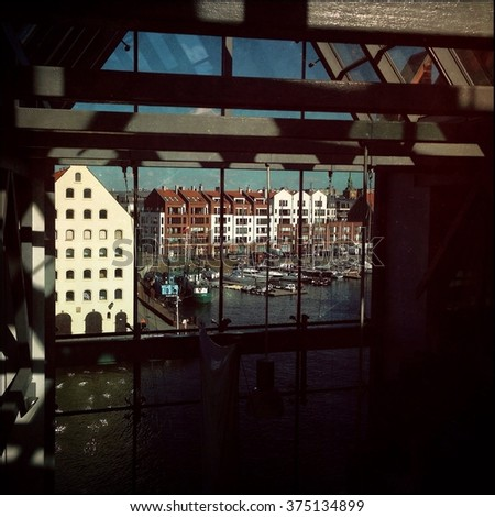 Vintage edited picture of Gdansk old town. The city also known as Danzig and the city of amber.  - stock photo