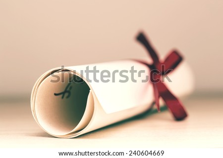 Vintage Education Diploma Close Up - stock photo