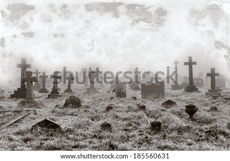 Vintage effect of creepy a cemetery - stock photo