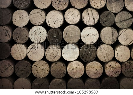 Vintage effect wine cork background - stock photo