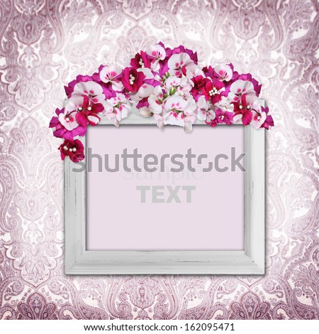 Vintage elegance background with frame and flowers - stock photo