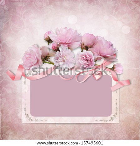 Vintage elegance background with frame and roses - stock photo