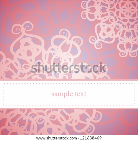 Vintage elegant card or invitation for party, birthday, baby shower or wedding with classic pink and violet floral abstract ornament and white space to put your own text message. - stock photo