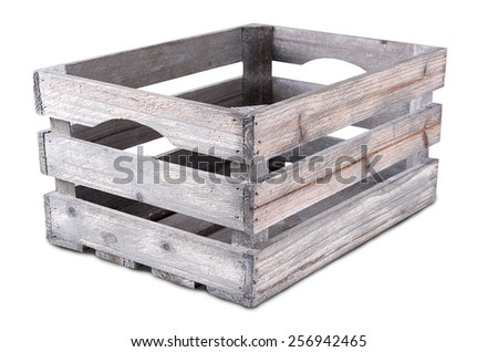 Vintage empty crate isolated on white background - stock photo