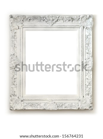 Vintage empty frame on white wall - stock photo