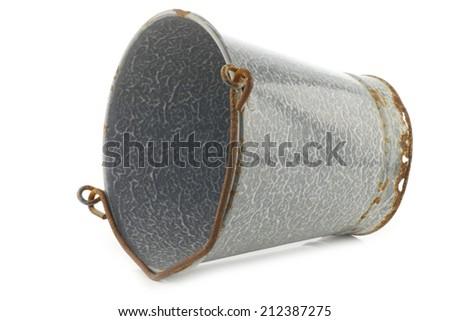 vintage empty grey enamel bucket on a white background - stock photo
