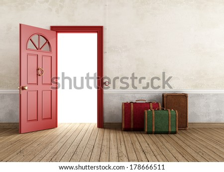Vintage empty interior with three travel bags near the front door open - rendering - stock photo
