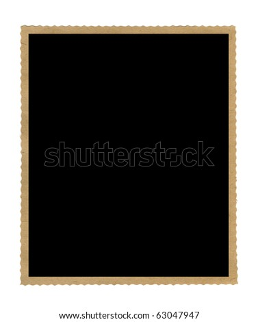 vintage empty photo frame isolated on white - stock photo
