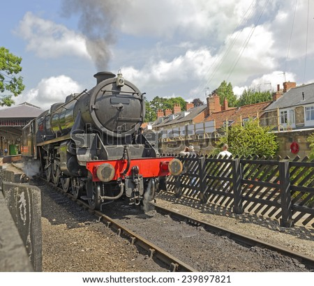 Vintage English steam locomotive - stock photo