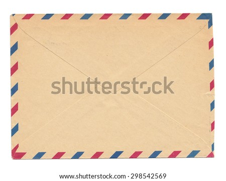 Vintage envelope, blank, closed, old yellowed paper with par avion color marks