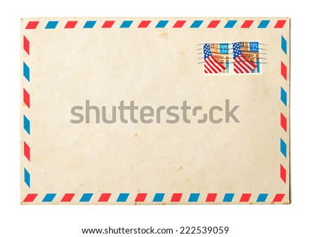 Vintage envelope on white background - stock photo
